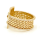 Moon-Start-18k-Gold-Twist-Mesh-Textured-Double-Diamond-Belt-Shield-Statement-Ring-EFCR-04