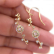 85-rose-cut-diamond-solitaire-gold-dangle-hoop-earrings-14K-18K_6769A
