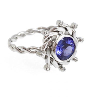 Eclipse Tanzanite Solitaire Ring OOAK