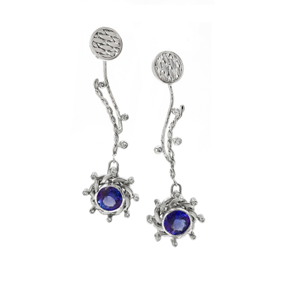 OOAK Lunar Dance Diamond and Tanzanite Ear Jackets