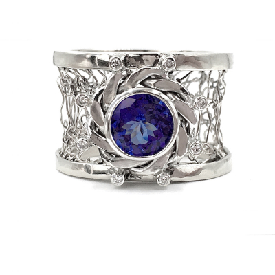 Nebula Diamond and Tanzanite Ring