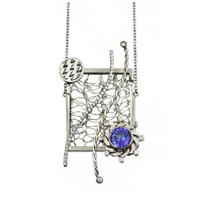 Nebula Pendant Framed Diamond and Tanzanite Necklace