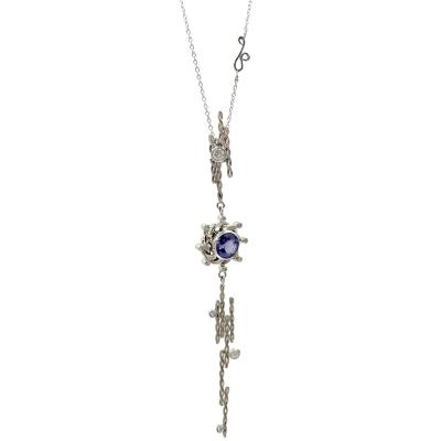 Andromeda Galaxy Diamond and Tanzanite Pendant Necklace